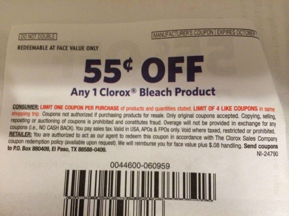 Clorox Bleach Product ~ 10/07/2014 ~ $0.55 on ONE (1) ~ (9) #Clorox