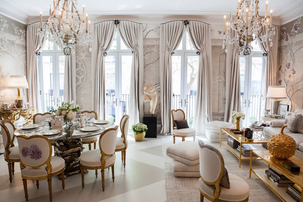 In The Silver And Gold Dining Room By Alex Papachristidis Is An Eve Kaplan  Table With
