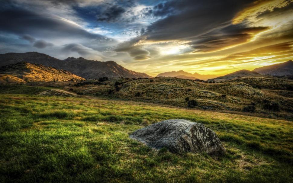 Pagi Mountains Sky Landscape Sunrise Sunset Hdr Hd Background