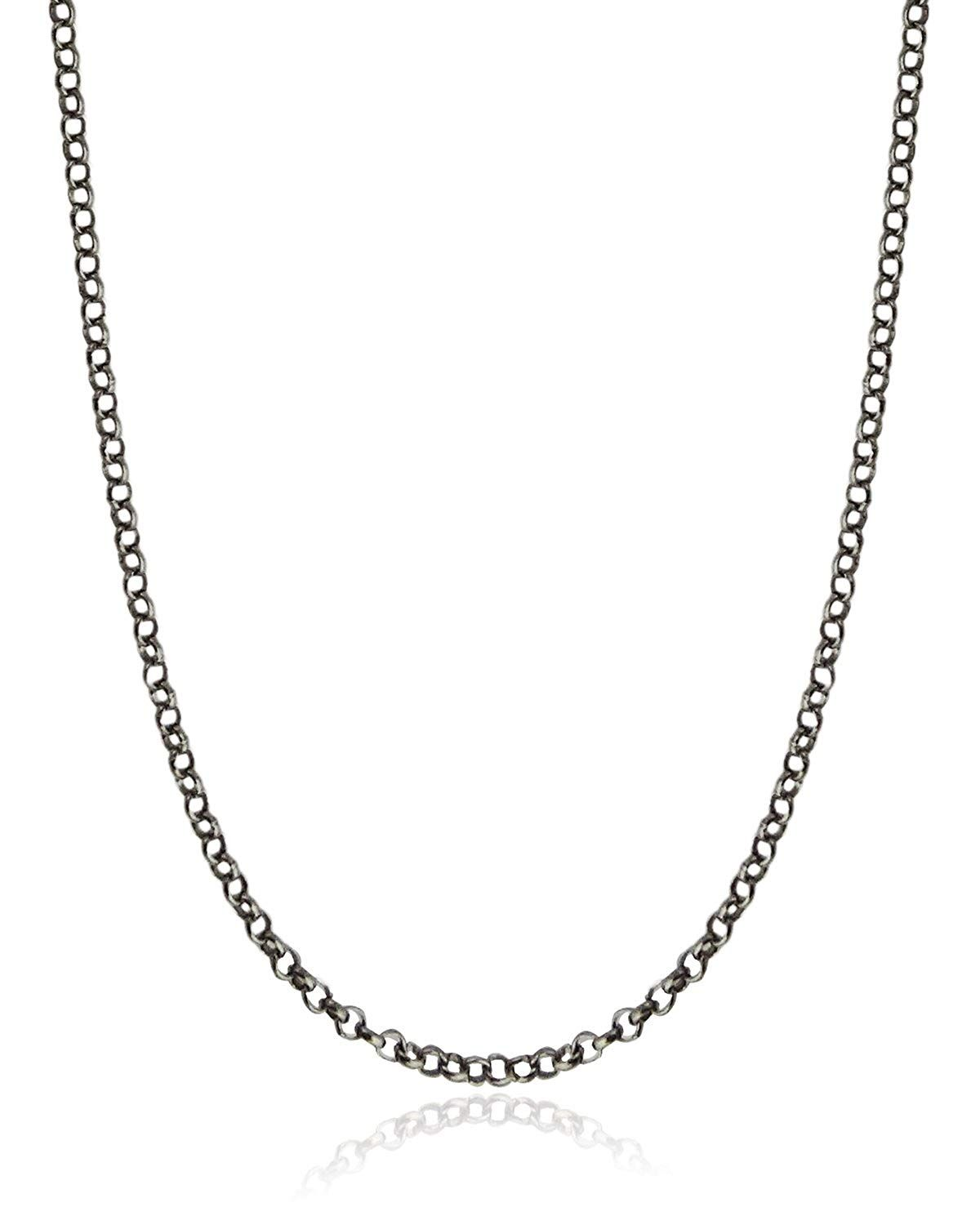 Rollo 24 Oxidized Black Sterling Silver 1 2mm Rolo Or Rollo Chain Necklace
