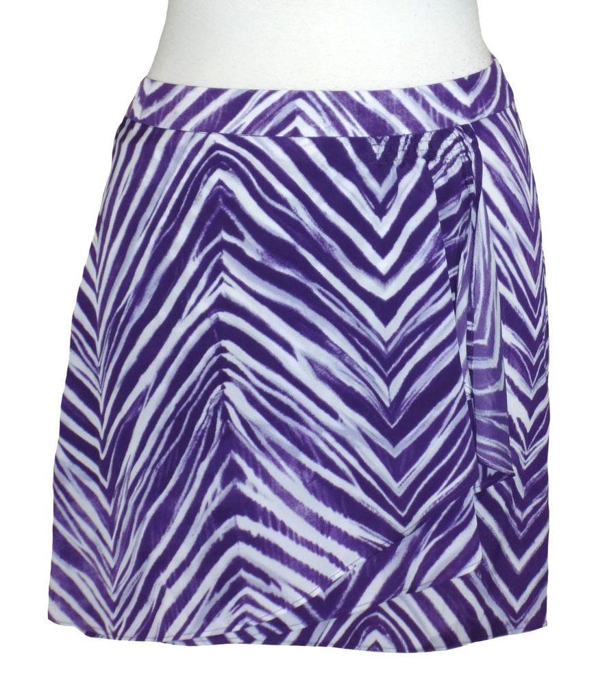 BCBG Max Azria Womens Skirt RASHIDA Chiffon Zebra Print Mini Purple ...