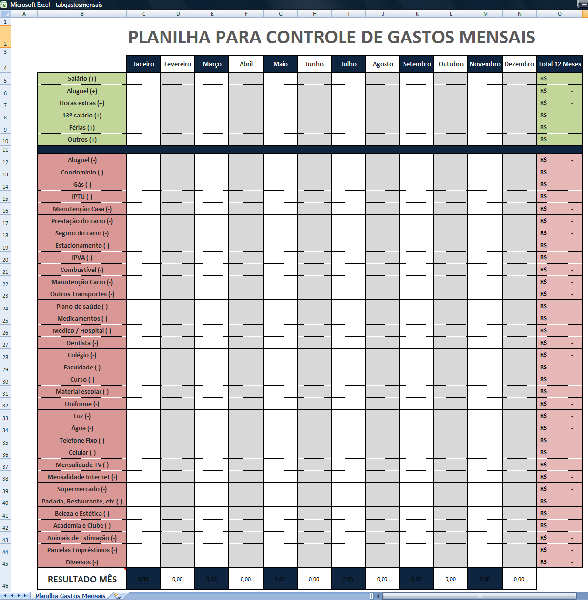 Planilha De Gastos Organize O Or Amento Familiar Pinterest
