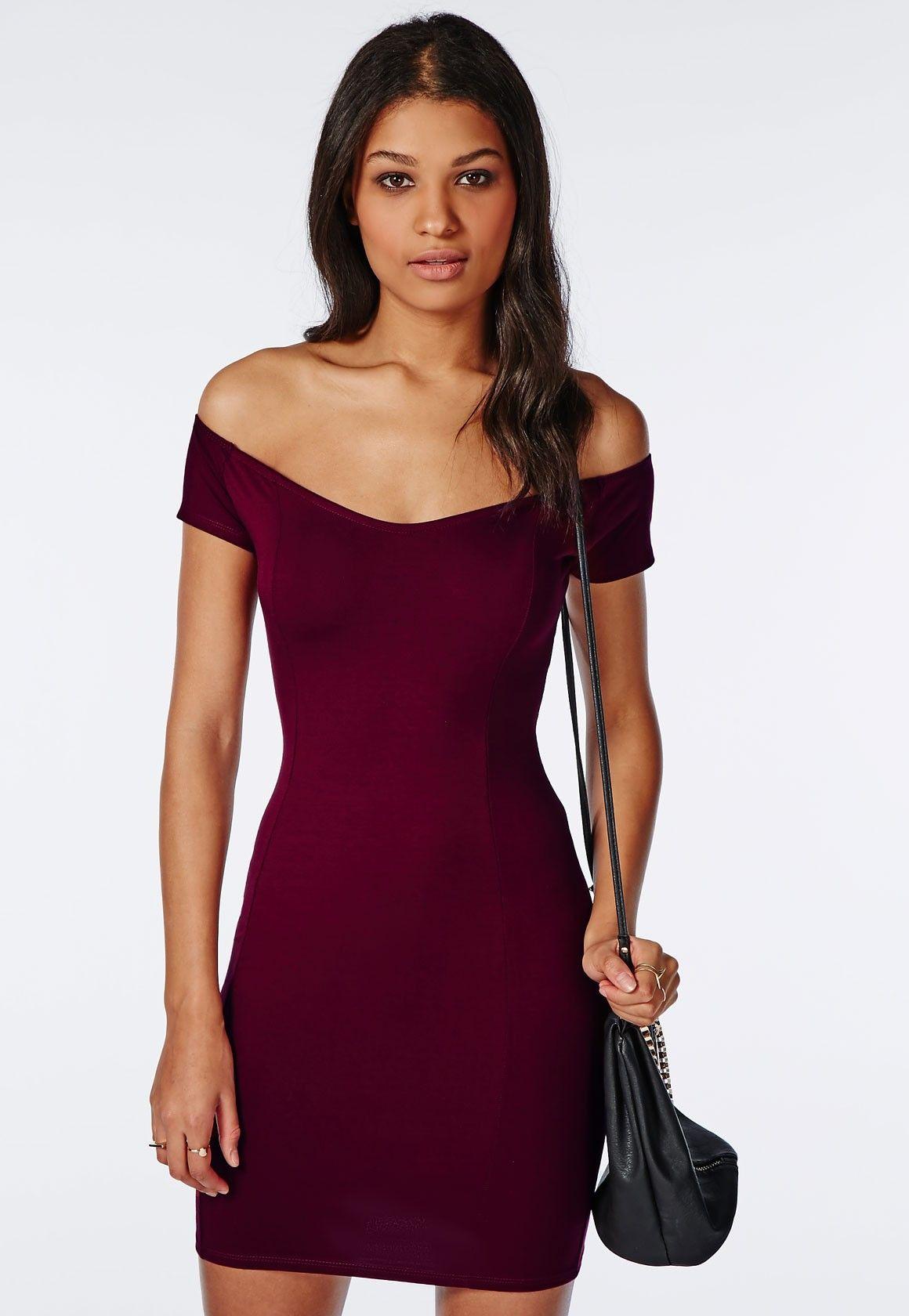 Jersey Bardot Bodycon Dress Burgundy - Dresses - Bodycon Dresses ...
