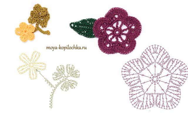 Hermosa Colección De Más De 60 Patrones De Flores Hojas Y Mariposas Para Tejer Al Crochet Imágenes Para Imp Crochet Patrones Patrones Tejido Crochet Patrones