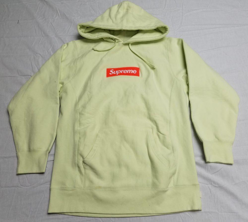 Supreme Box Logo Hoodie Hooded Sweatshirt Fw17 Pale Lime Medium Fashion Clothing Shoes Access Hooded Sweatshirts Sweatshirts Hoodie Supreme Box Logo Hoodie [ 893 x 1000 Pixel ]