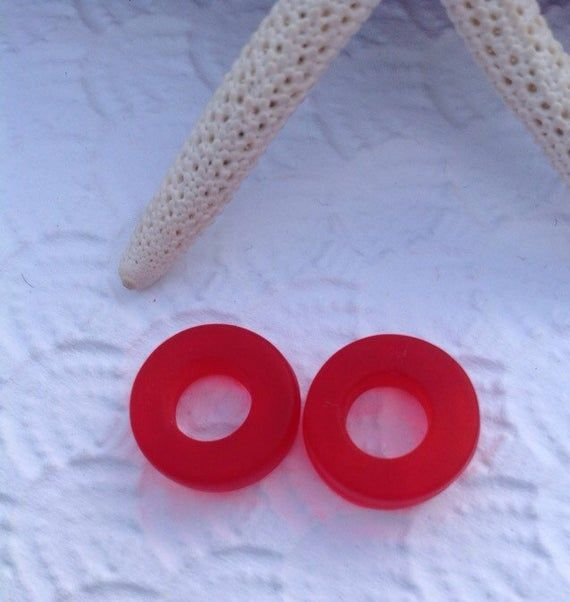 Photo of 2 pc sea glass bead-12 mm seaglass ring-beach glass donut-frosted cherry red glass bead-bottle glass ring-sand glass-sea glass jewelry-beach