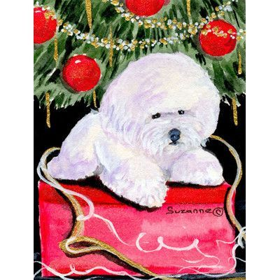 Caroline's Treasures Christmas Tree with Bichon Frise 2-Sided Garden Flag