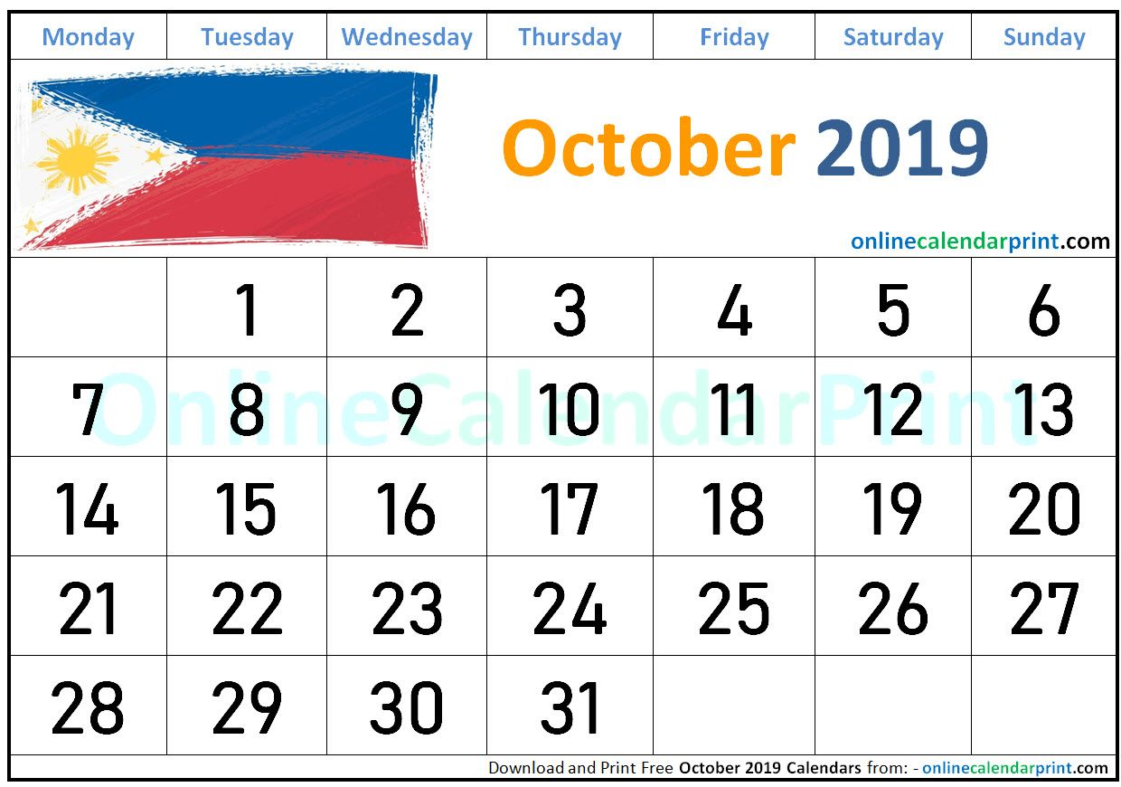 October 2019 Calendar Philippines 2019 Calendar Calendar