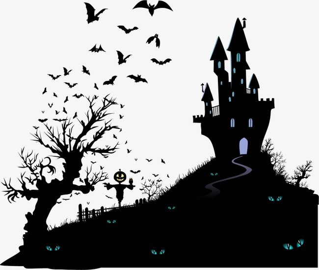 Haunted House Halloween Bat Tree Vector Black Vector Silhouette Vector Haunted Vector House Vector Vect Halloween Silhouettes Halloween Vector Holiday Painting