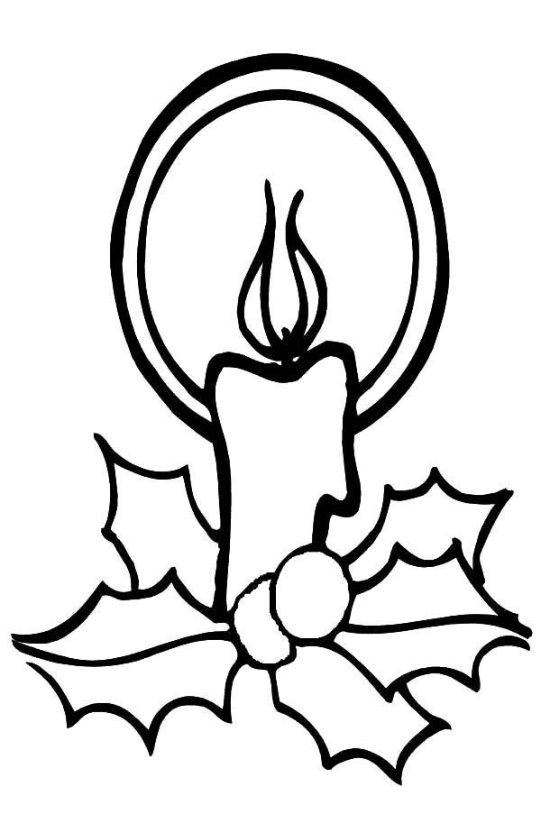 Christmas Candle Light Glowing Coloring Pages Download