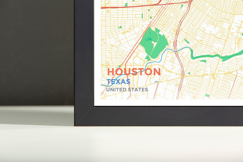 Houston map framed