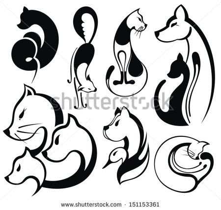 Stock Images similar to ID 121397251 - black cat.set of cats...