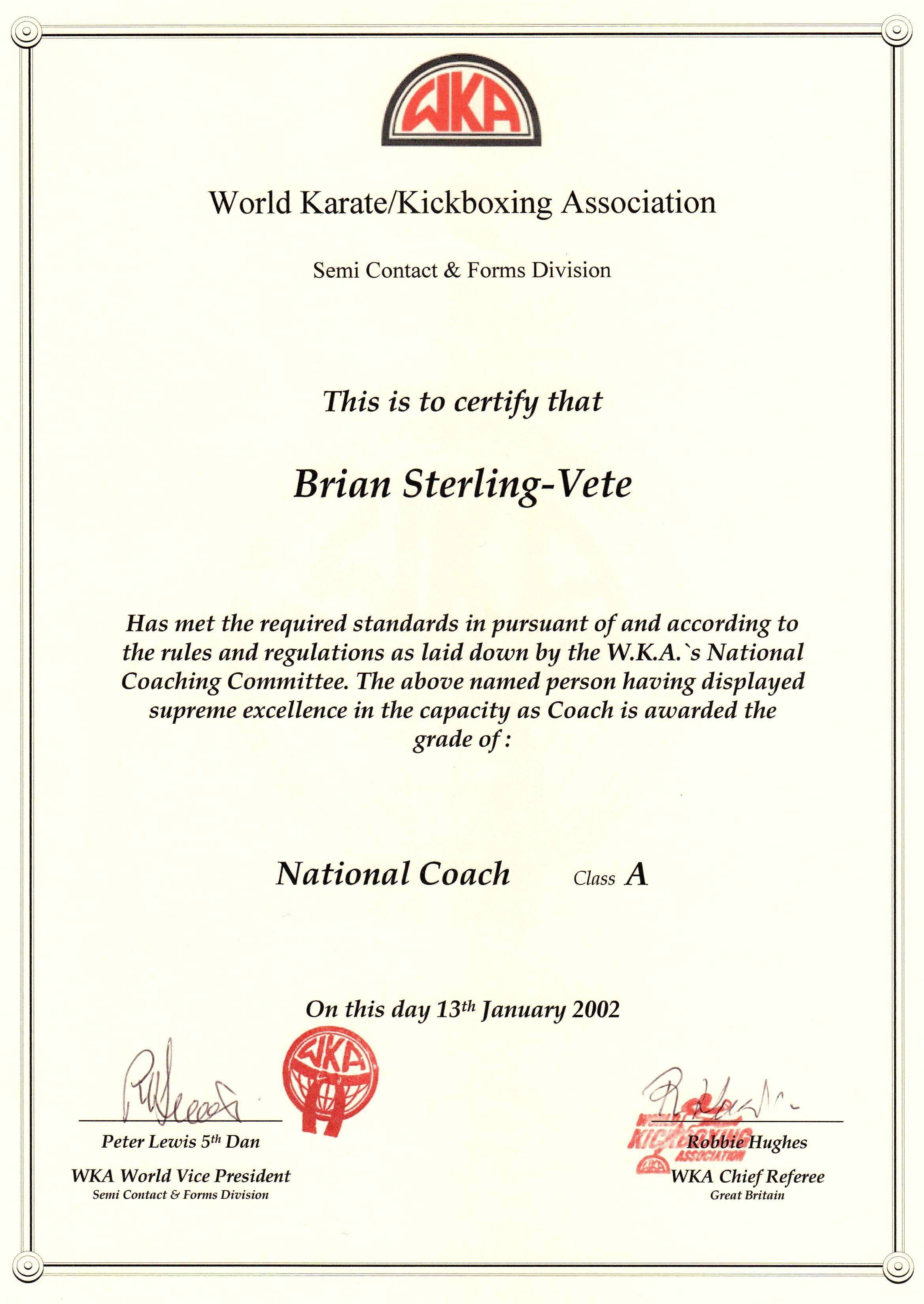 World Karate And Kickboxing Association National Coaching