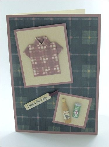 8eceef0a6 Fab origami shirt card with mini whiskey and lager!