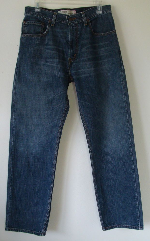 Men`s LEVIS 559s Medium Blue Jeans Distressed Straight Relaxed Size W32 X L 32