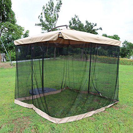 Le Papillon 8 ft x 8 ft Offset Umbrella Canopy with Removable Mosquito Net canopy outdoor & Le Papillon 8 ft x 8 ft Offset Umbrella Canopy with Removable ...