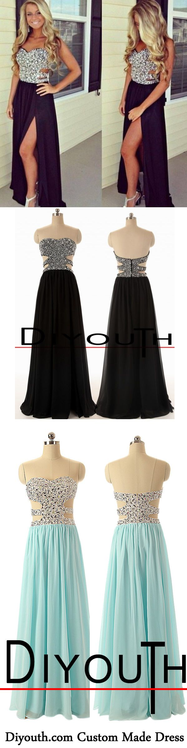 Backless long black beaded cutout slit evening prom dresses