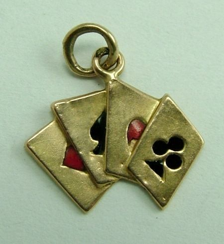 1940's 18ct Gold & Enamel Playing Cards Charm