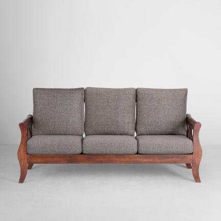 Elmwood Arezzo Sofa Set 3 1 1 Grey And Honey Sofa Set Wooden Sofa Set Sofa
