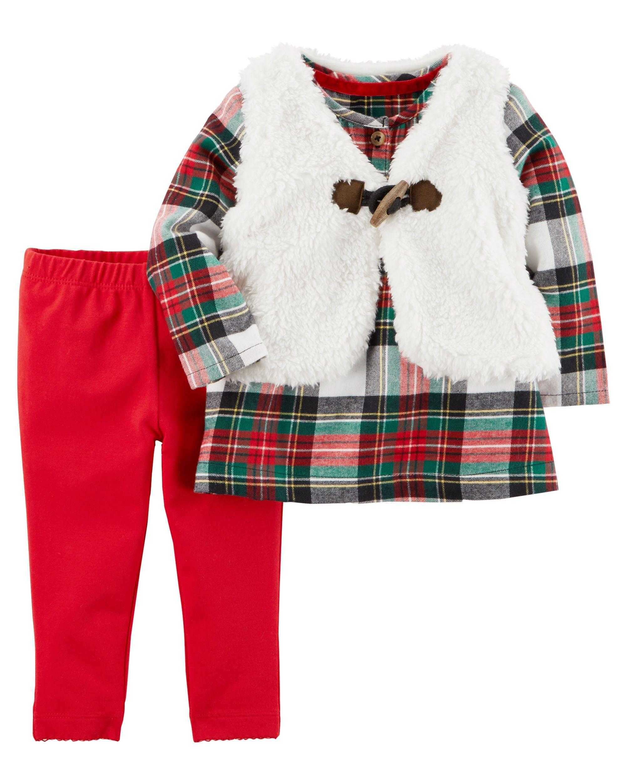 3 Piece Plaid Little Vest Set