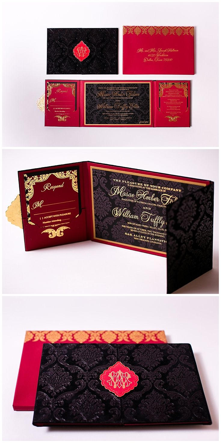Velvet Wedding Invitations | Pinterest | Red black and Damasks