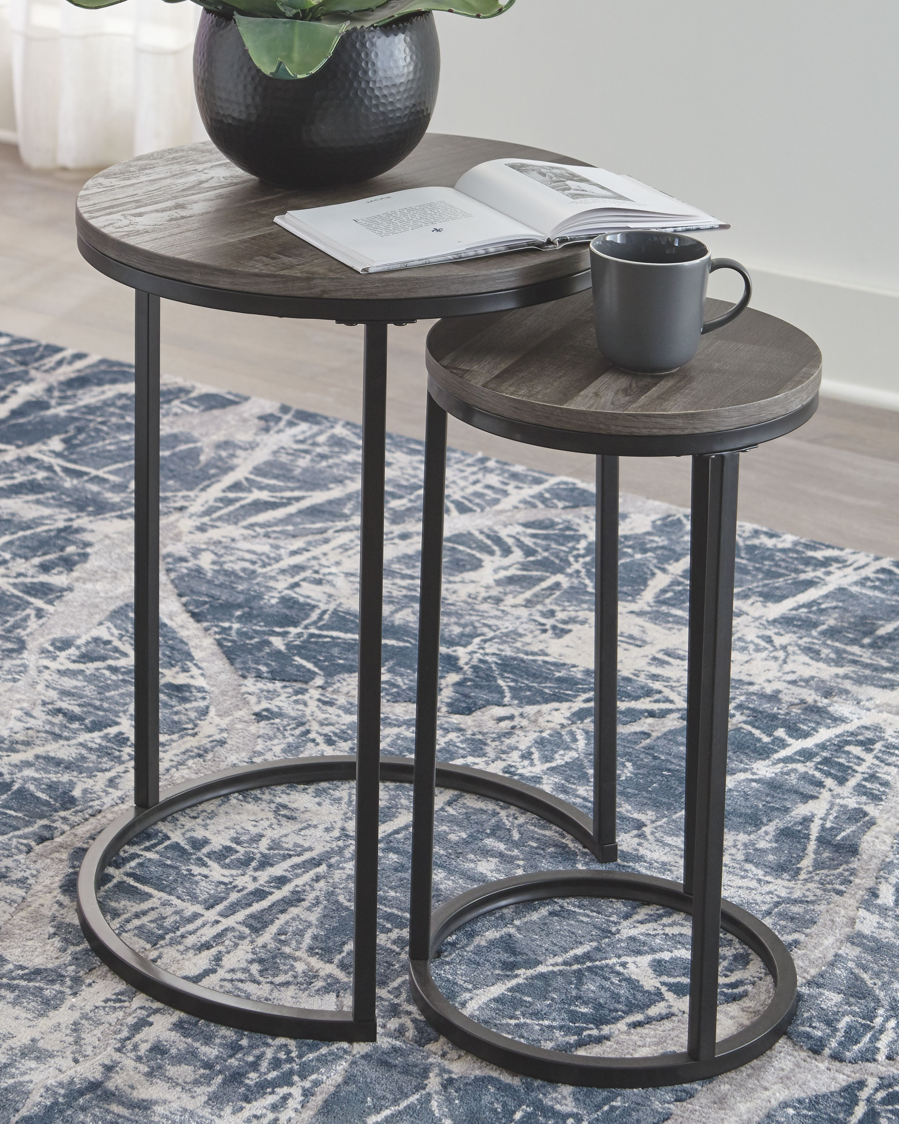 Briarsboro Accent Table Set Of 2 Black Gray In 2020 Nesting