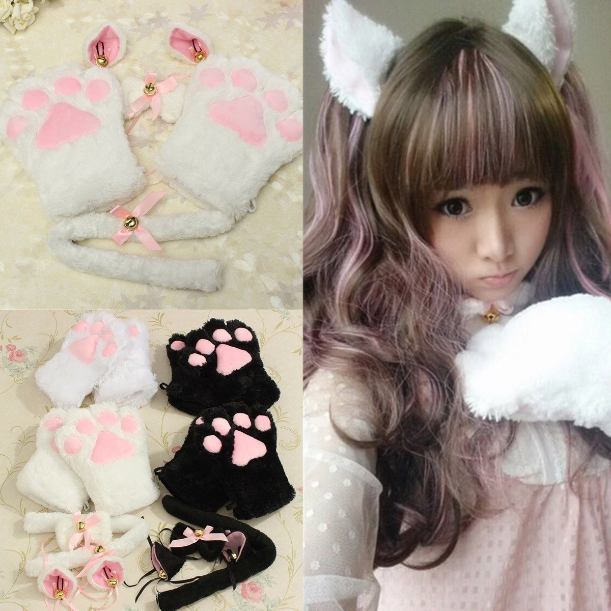 Kitten Cat Maid Cosplay Role Play Anime Costume Gloves Paw Ear Tail Tie Party Maid Cosplay Anime Costumes Costume Gloves