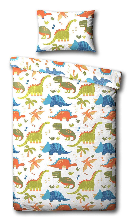 Childrens white blue orange dinosaur single duvet quilt cover