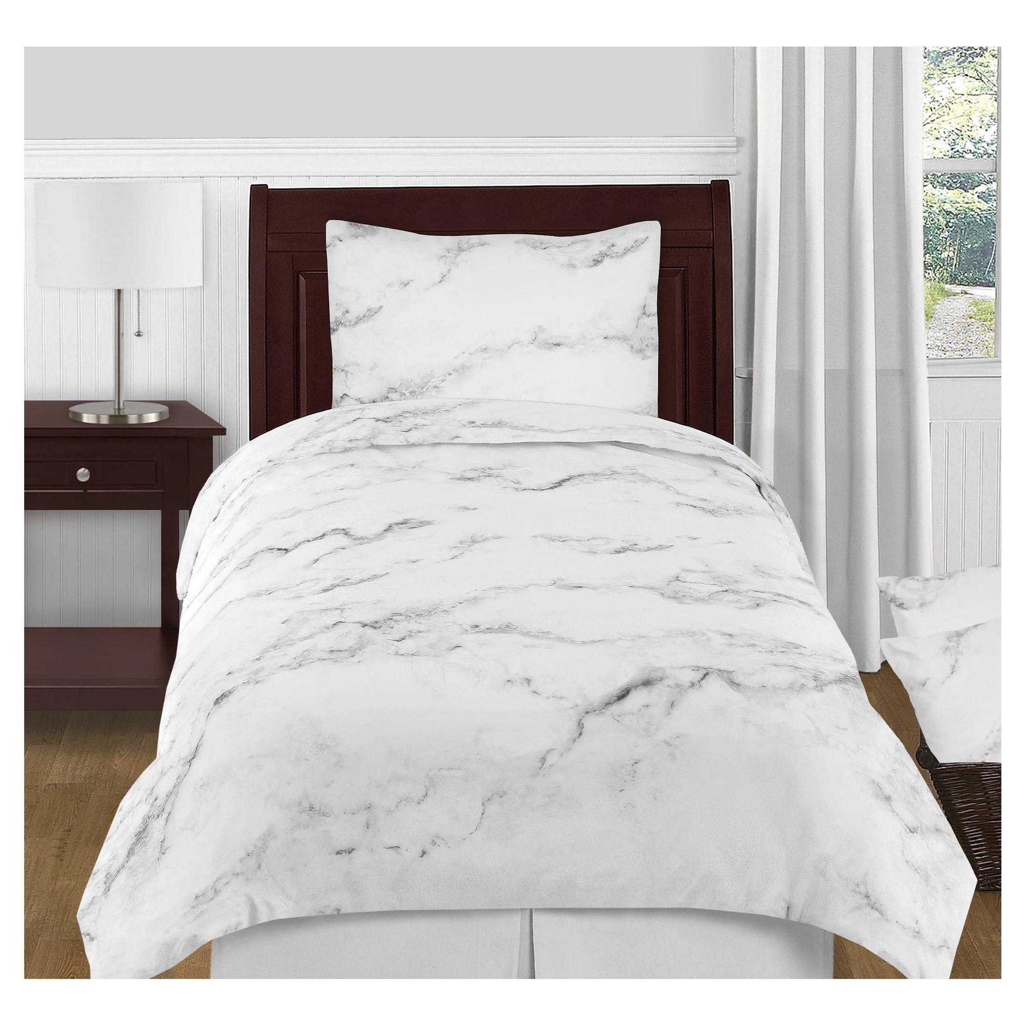 Black & White Marble Comforter Set (Twin) Sweet Jojo