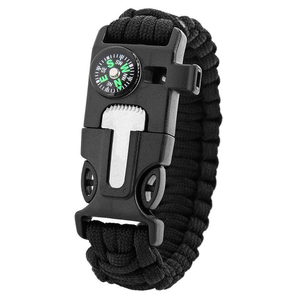 5 in 1 Outdoor Survival Gear Escape Paracord Bracelet Flint Whistle Compas/_ti