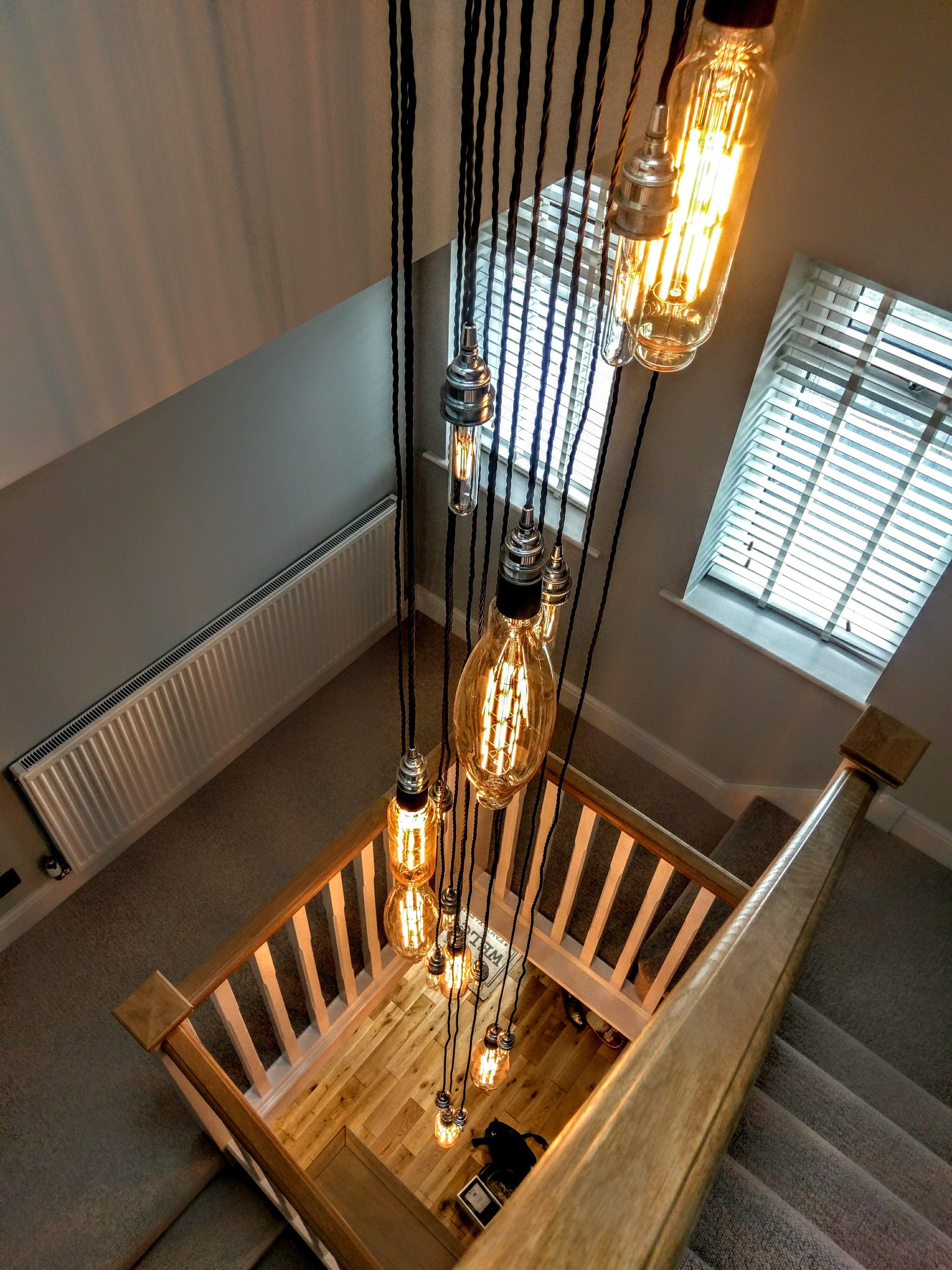 Interior design chandelier stairway LED giant bulbs E40 & E27