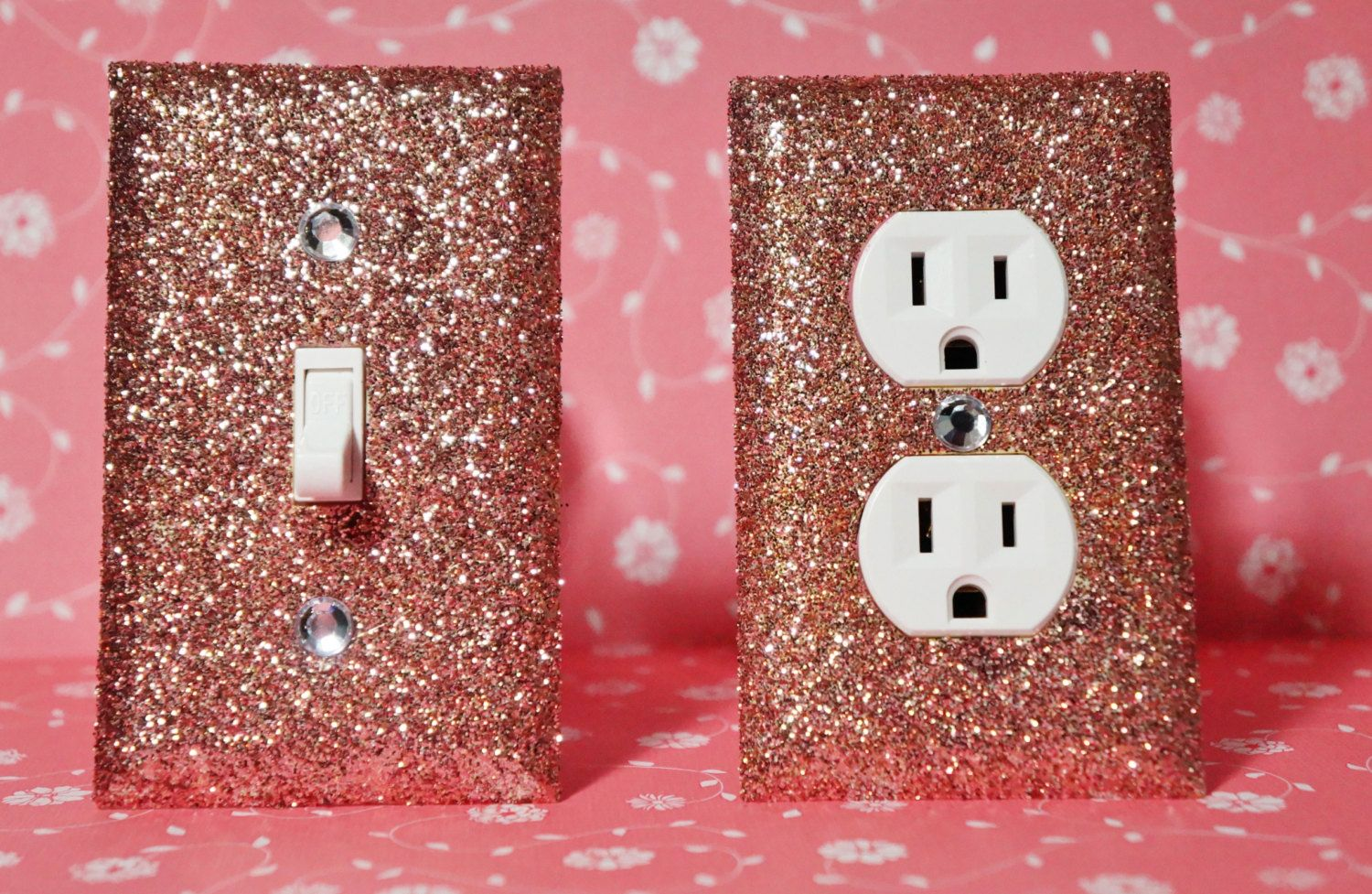 Set of rose gold glitter swichplate outlet covers by glitteritmine