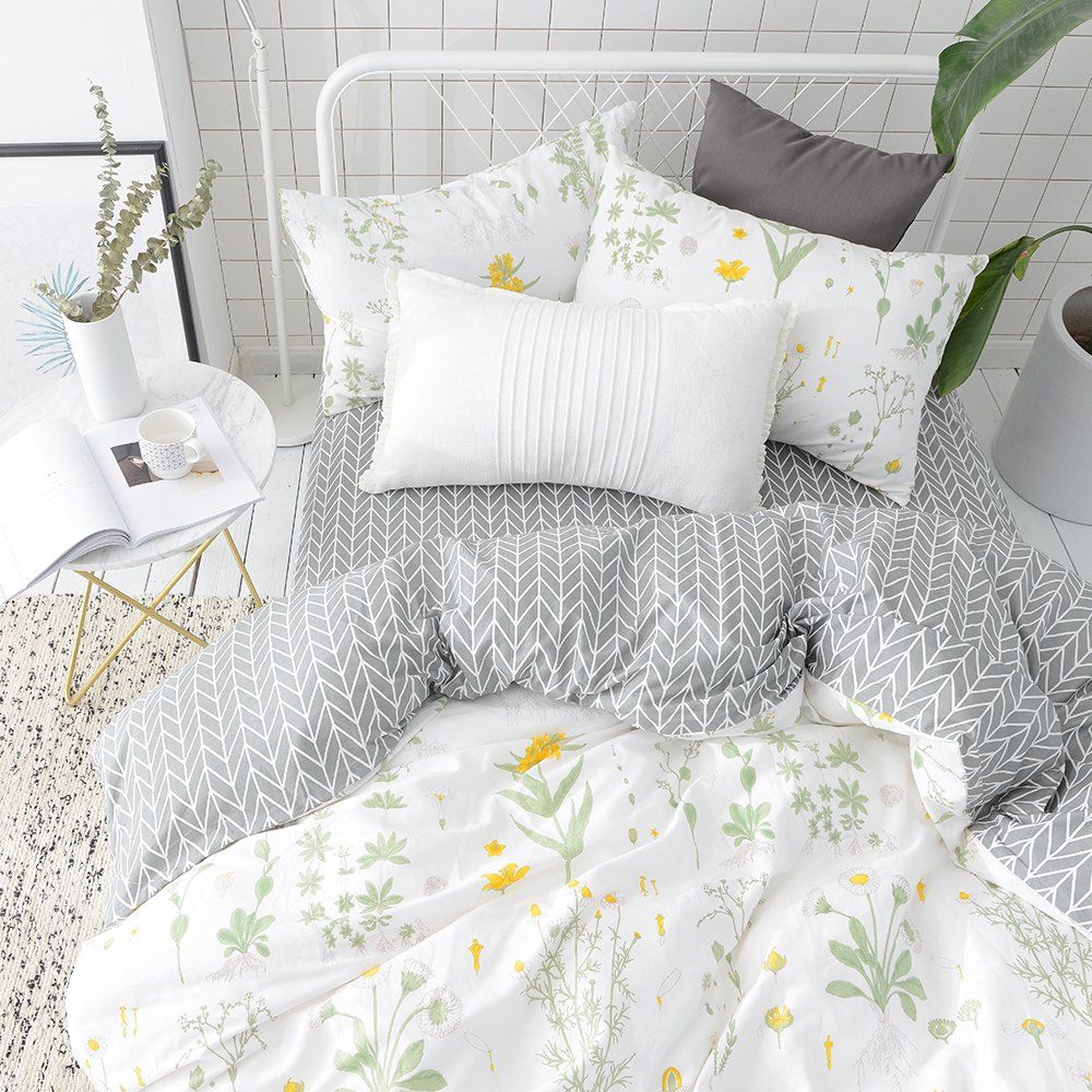 503a70e6a0 VClife Floral Duvet Cover Sets Full Queen Bedding Sets White Yellow Flower  Branches Design Bedding Duvet Cover Sets Cotton Comforter Cover Sets for  All ...