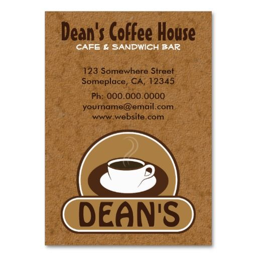 Coffee Cup Cafe Custom Business Cards Card Templates