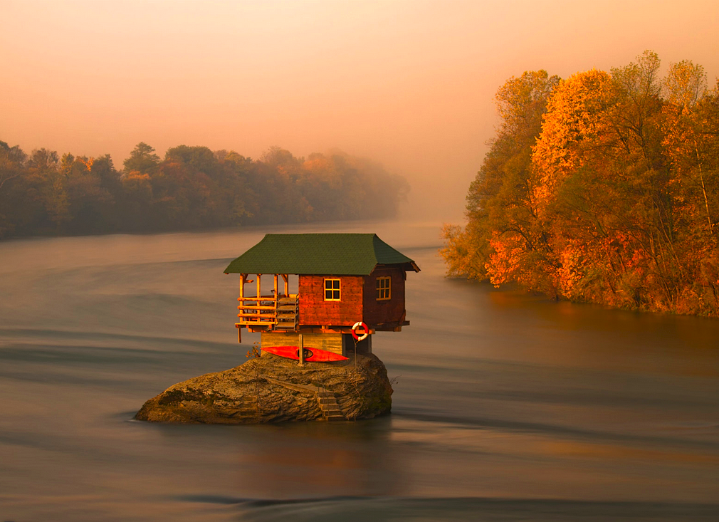 House in the middle of the Drina River near the town of Bajina Basta, Serbia (Irene Becker)