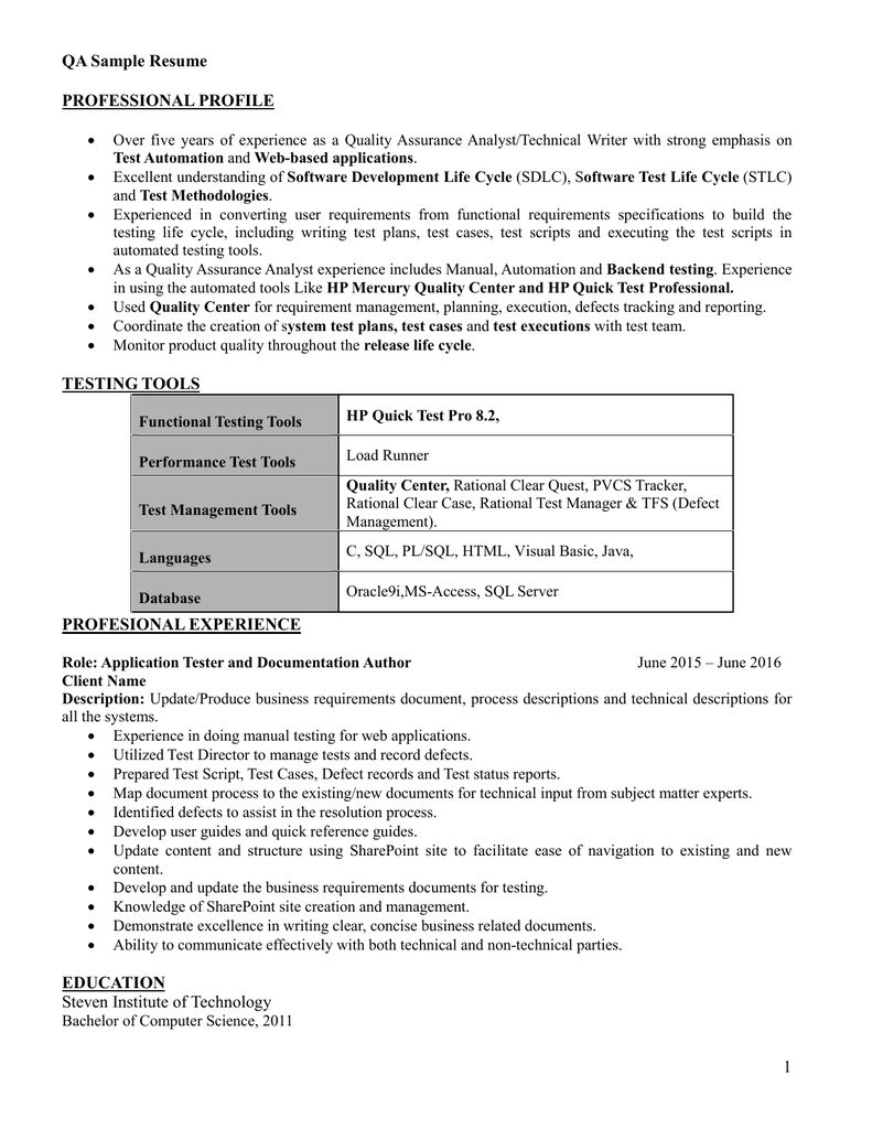 Qa Testing Resume 2021 Resume Development Life Cycle Technical Writer