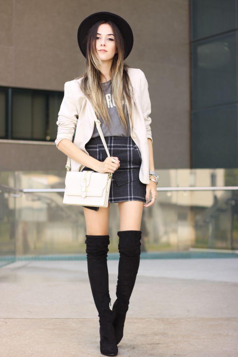 cc6d0bd1a47 FashionCoolture - 14.03.2016 look du jour over knee boots black plaid skirt  (1