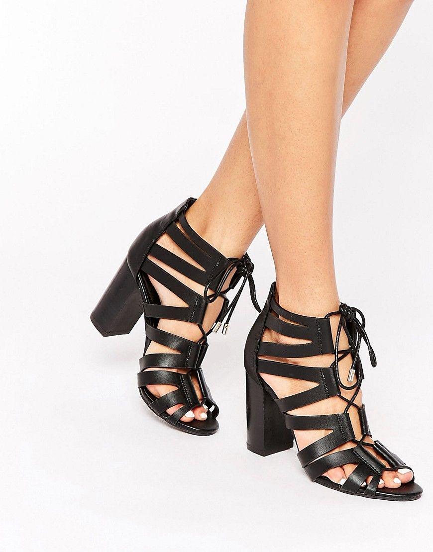 fb2336113d Image 1 of Pimkie Tie-Up Heeled Sandals | Style | Black block heel ...
