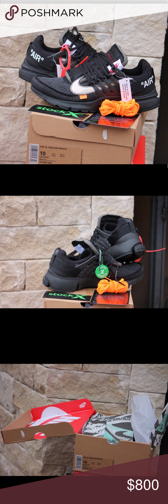 Off-White x Air Prestos Black Size 10 DS Selling on GOAT