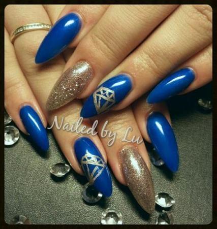 20 ideas nails almond blue diamonds  almond nails nails