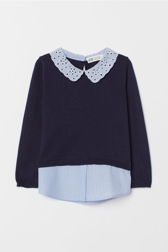 b81456820 Fine-knit Sweater with Collar