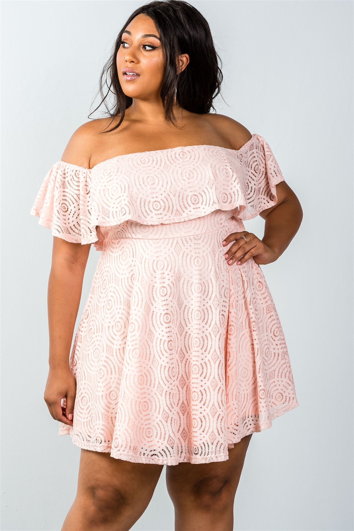 71ab2514dd79 Ladies fashion plus size lace overlay off-the-shoulder flounce dress ...