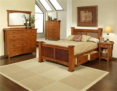 Mission Red Oak Bed Solid Oak Bed With Drawers Oak Bedroom Furniture Oak Bedroom Bedroom Sets