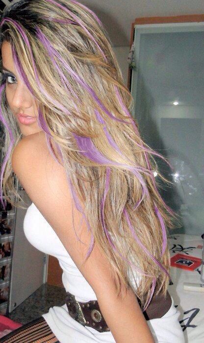 Purple streaks | Hair | Pinterest | Purple streaks, Hair ...