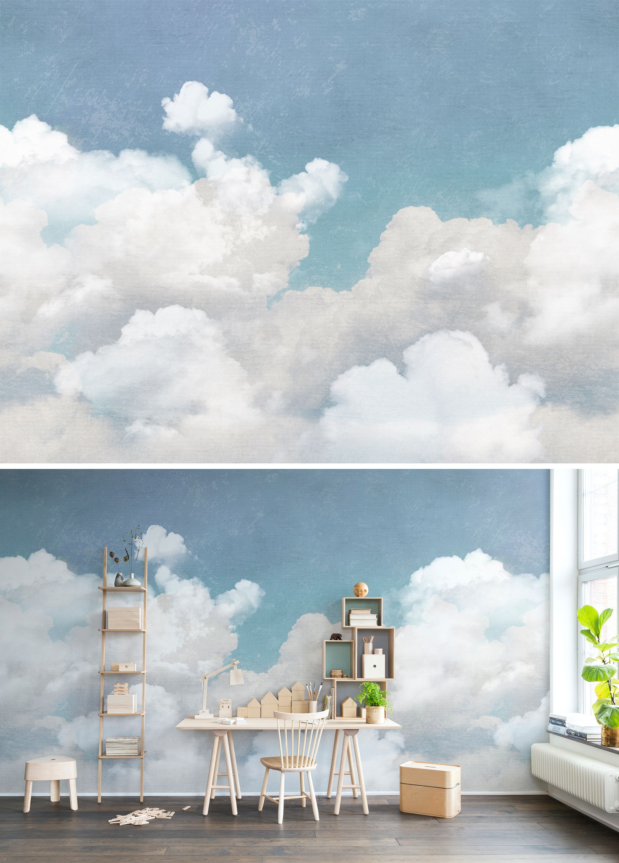 Wall Mural Wallpaper Blue Turquoise Dream Sky Clouds Fluffy Art Children Nursery Kids Retro Vintage