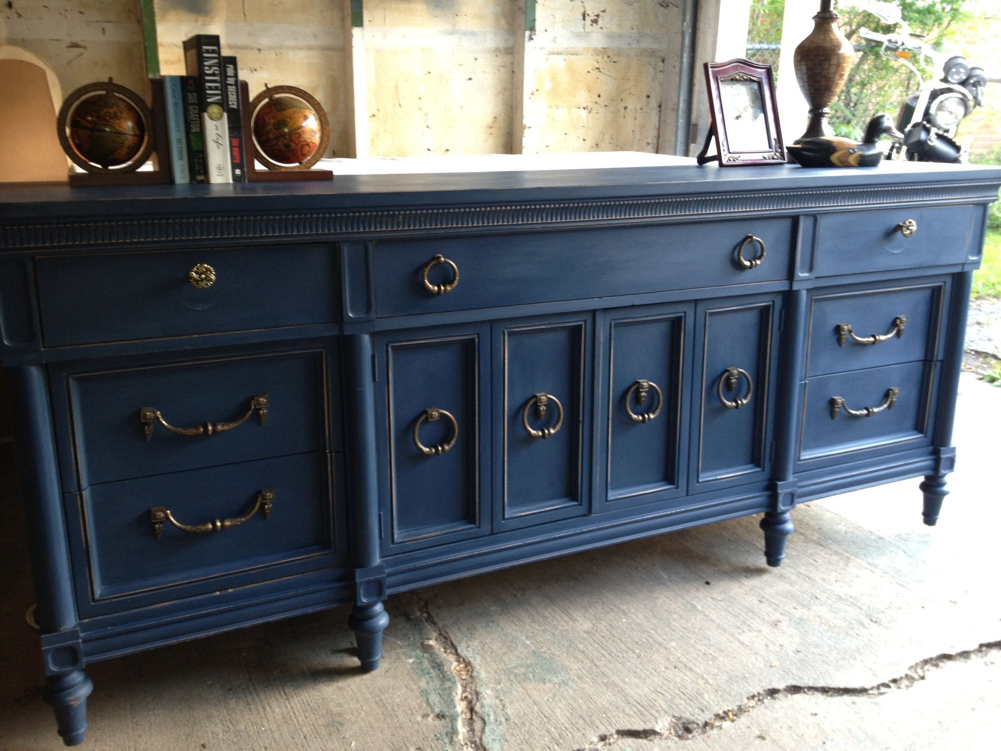 Navy blue painted vintage dresser by twice loved furniture Best color to paint dresser