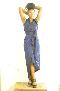 Image of Maria Severyna Royal Blue and Navy reversible wrap dress