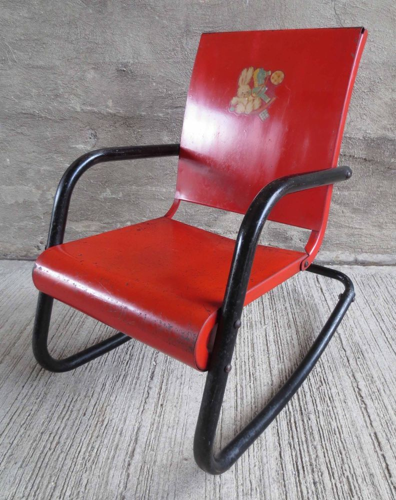 Vintage Red/Black 1950u0027s Childu0027s Metal Rocking Chair (#7)