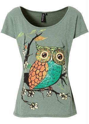d93727312 Camiseta Verde com Estampa de Coruja - Posthaus