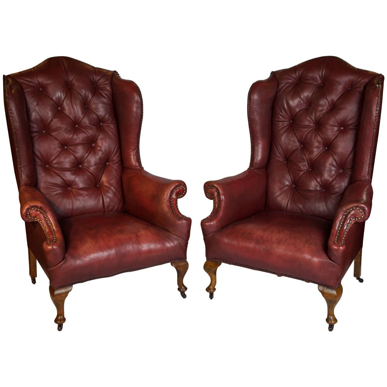 Pair Of Early 20th Century Red Leather Wing Back Chairs | From A Unique  Collection Of
